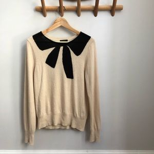 J. Crew Black and Cream Bow Sweater Large